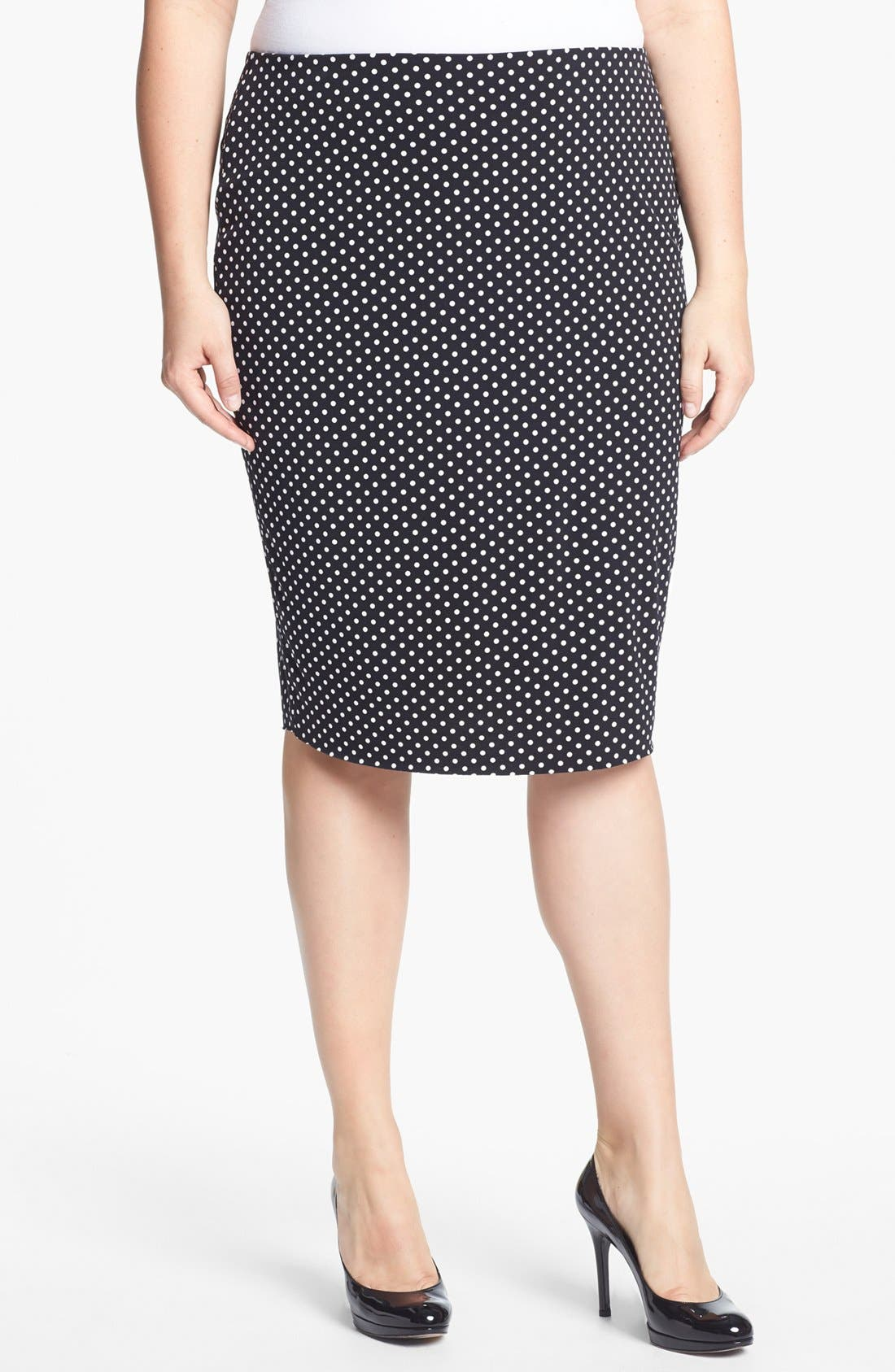 Alternate Image 1 Selected - Vince Camuto Polka Dot Midi Tube Skirt (Plus Size)