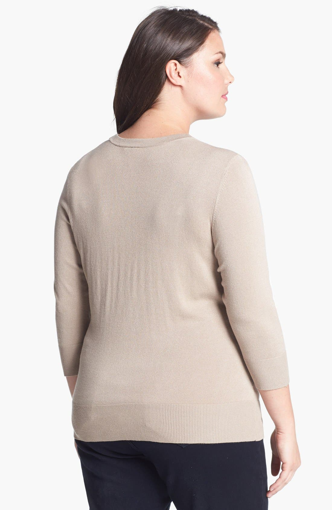 Alternate Image 2  - 14th & Union V-Neck Cardigan (Plus Size) (Special Purchase)