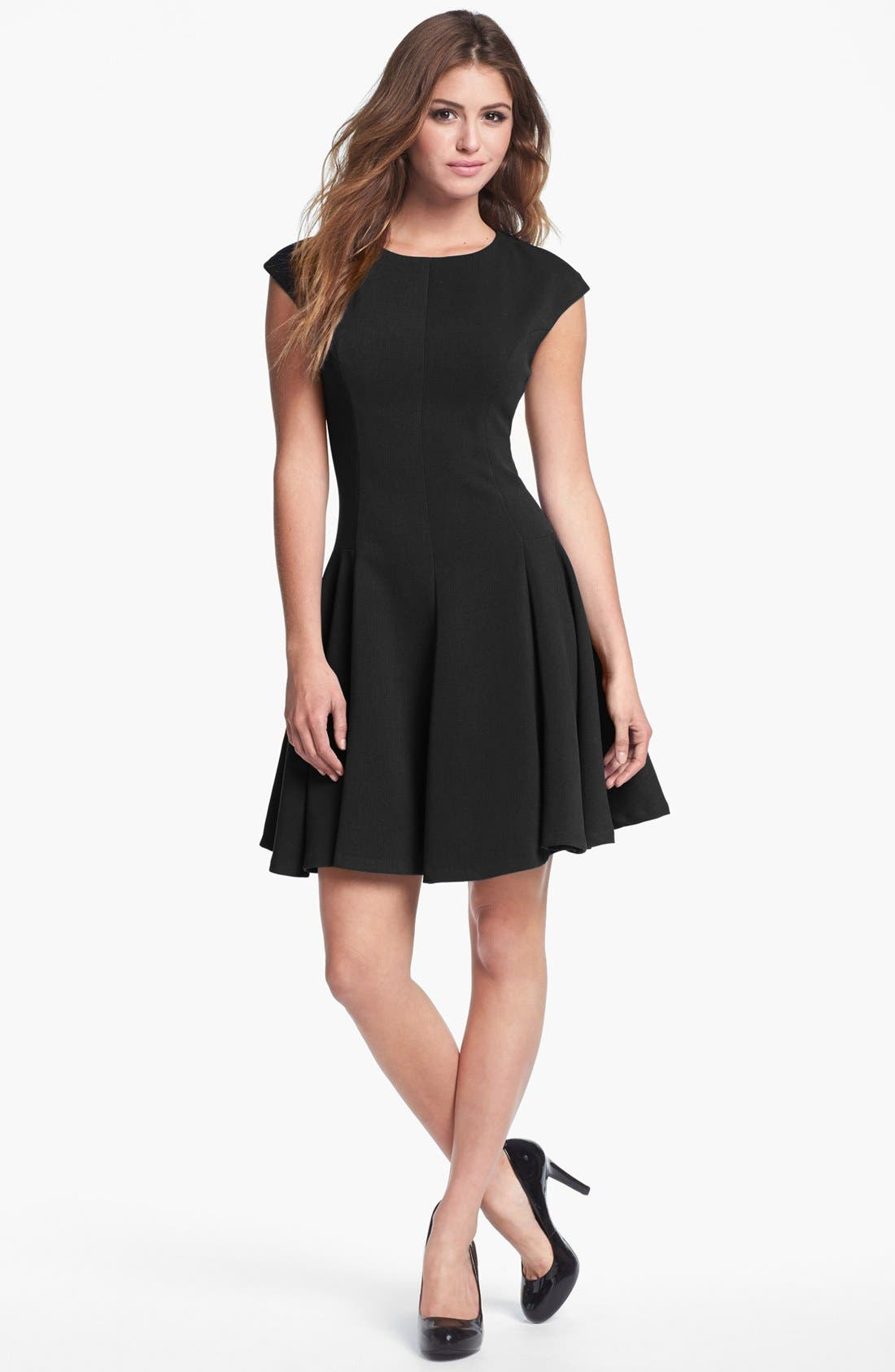 Main Image - Eliza J Ponte Knit Skater Dress (Regular & Petite)