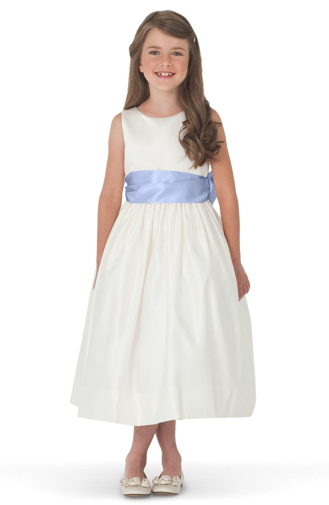 Us Angels Sleeveless Satin Dress with Contrast Sash (Toddler Girls, Little Girls & Big Girls)