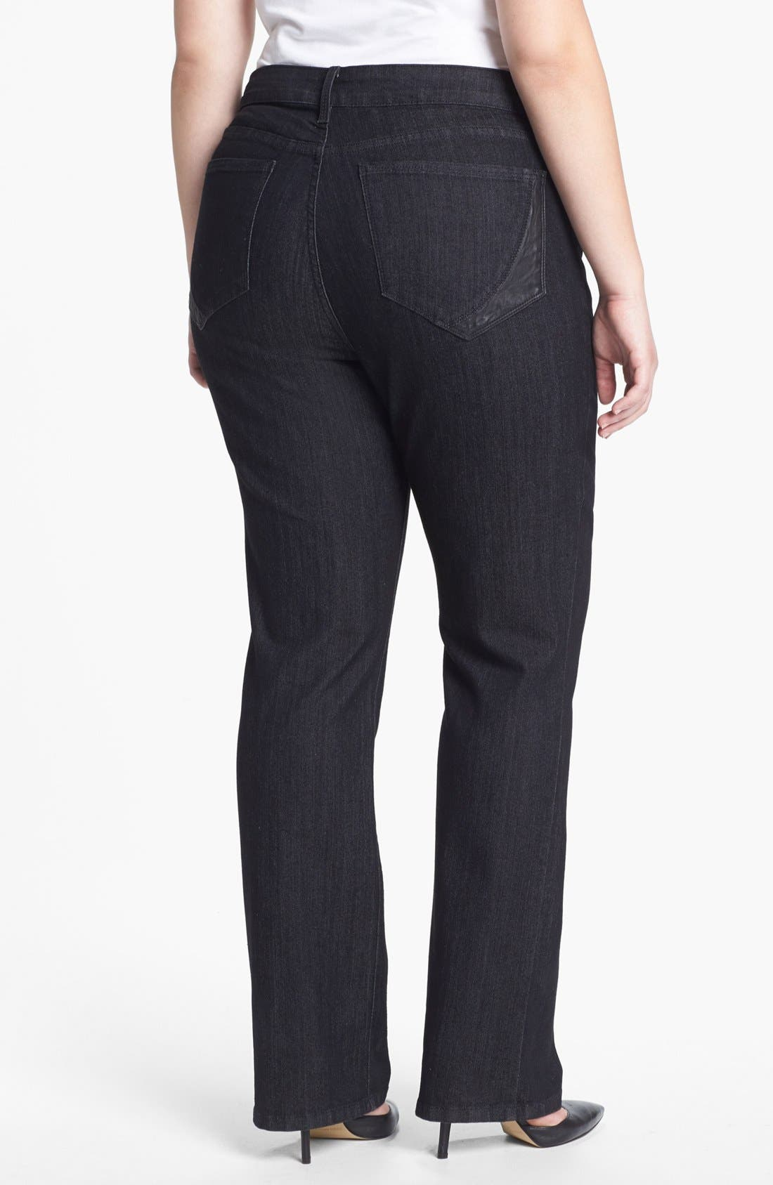 Main Image - NYDJ 'Marilyn' Faux Leather Detail Straight Leg Jeans (Plus Size)