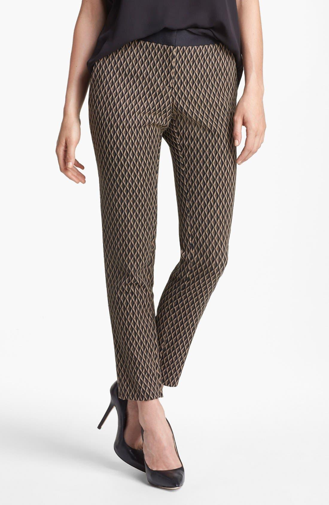 Main Image - Vince Camuto Satin Waist Jacquard Crop Pants