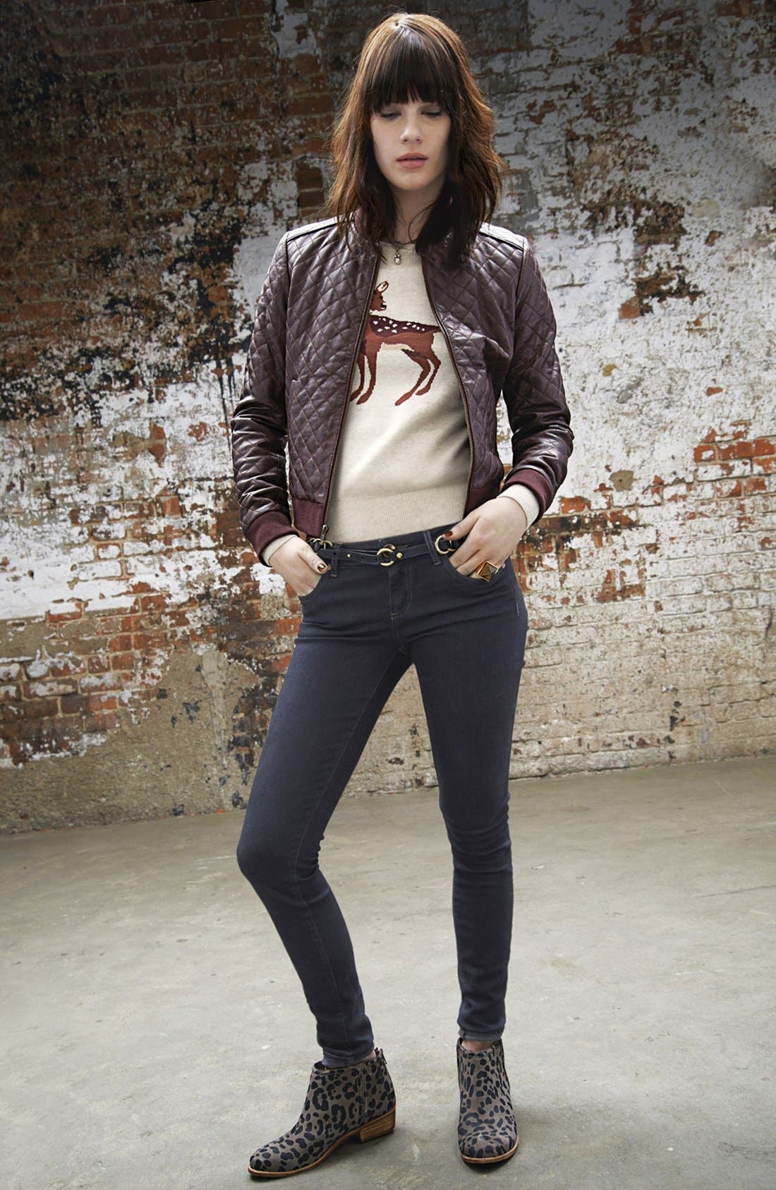Alternate Image 1 Selected - Halogen® Leather Bomber Jacket, Sweater & KUT from the Kloth Jeans