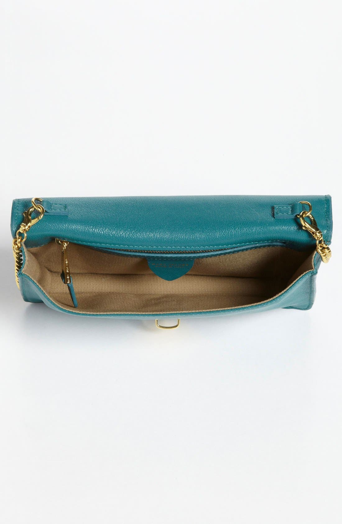 Leather Clutch,                             Alternate thumbnail 3, color,                             Peacock