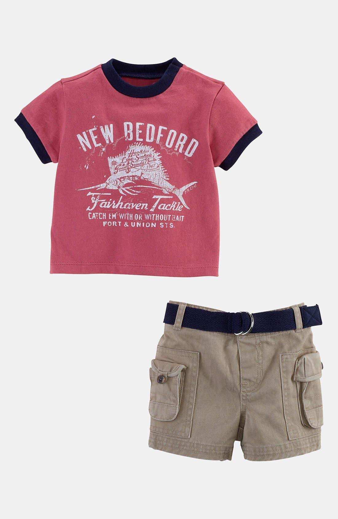 Alternate Image 1 Selected - Ralph Lauren T-Shirt & Cargo Shorts (Baby Boys)