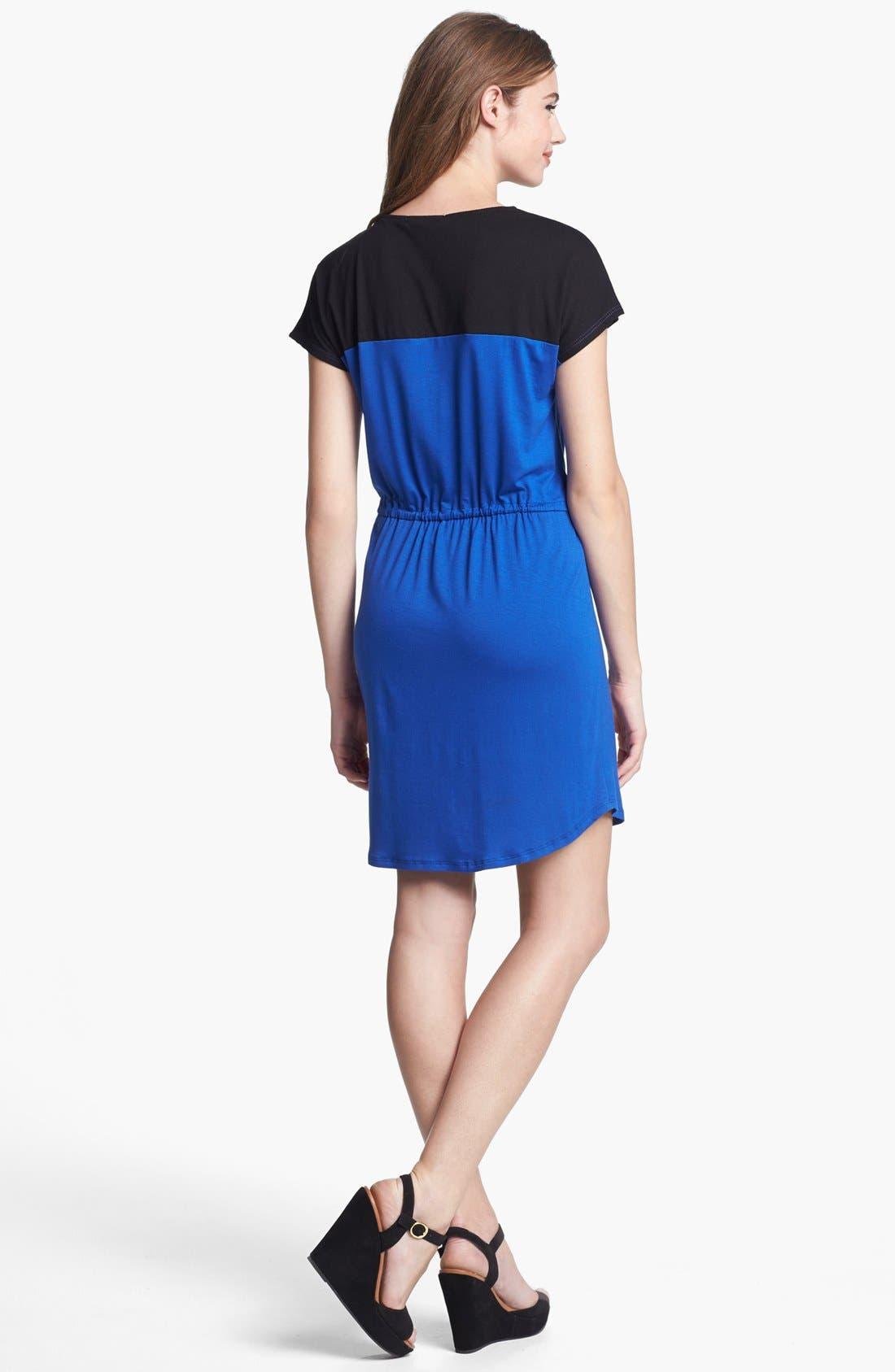 Alternate Image 2  - Olivia Moon Contrast Yoke Drawstring Dress (Regular & Petite)