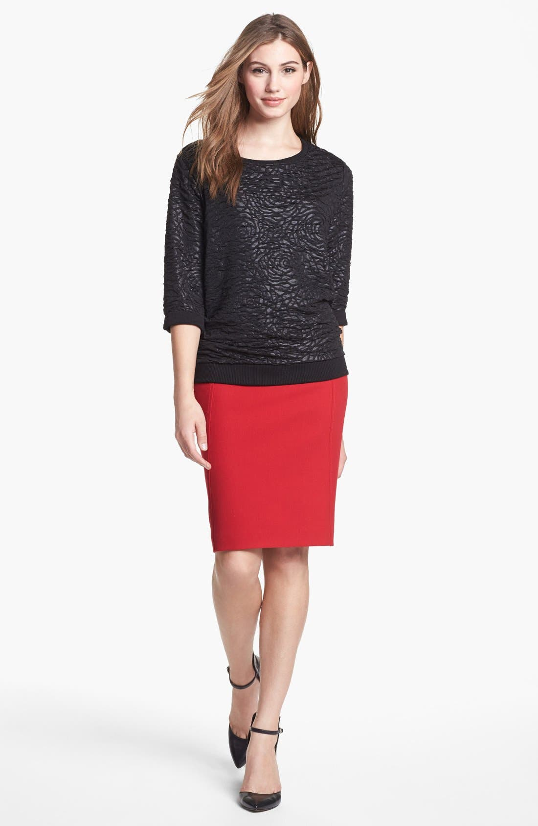 Main Image - Bobeau Sweatshirt & Halogen® Pencil Skirt