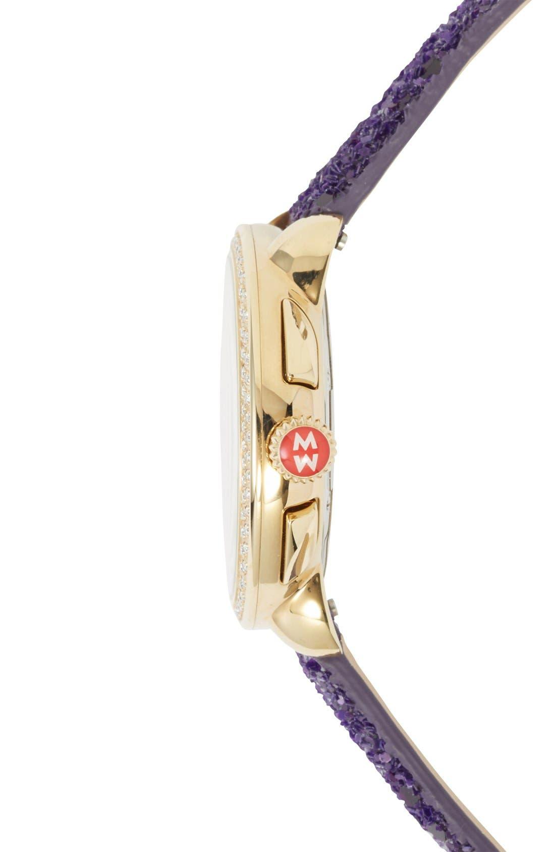 Alternate Image 3  - MICHELE 18mm Glitter Watch Strap