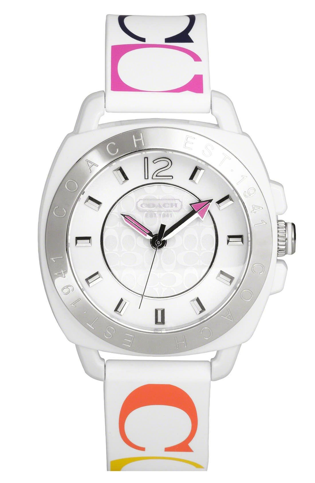 Main Image - COACH 'Boyfriend' Print Silicone Strap Watch, 40mm