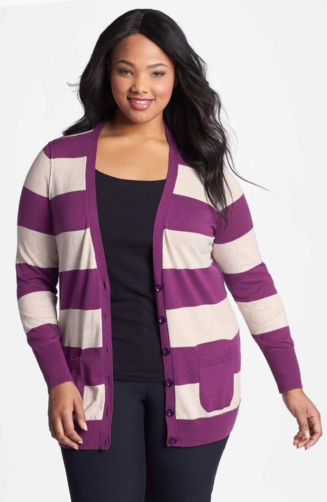 Alternate Image 1 Selected - Halogen® Stripe Cardigan (Plus Size) (Online Only)