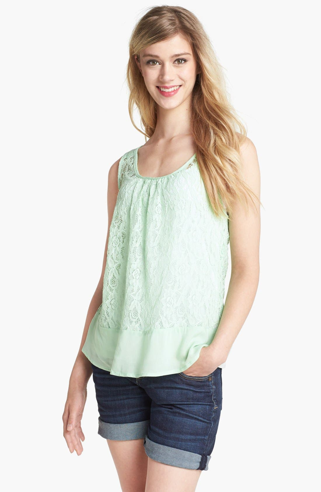 Alternate Image 1 Selected - Bobeau Ruffle Lace Tank
