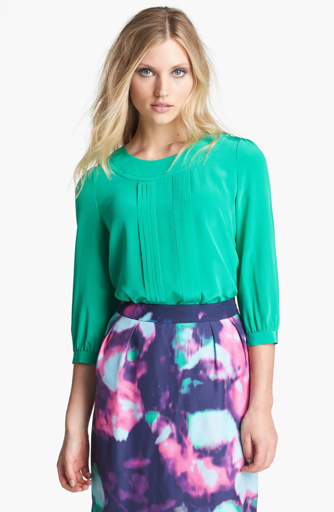 Alternate Image 1 Selected - kate spade new york 'moxie' pleated silk top