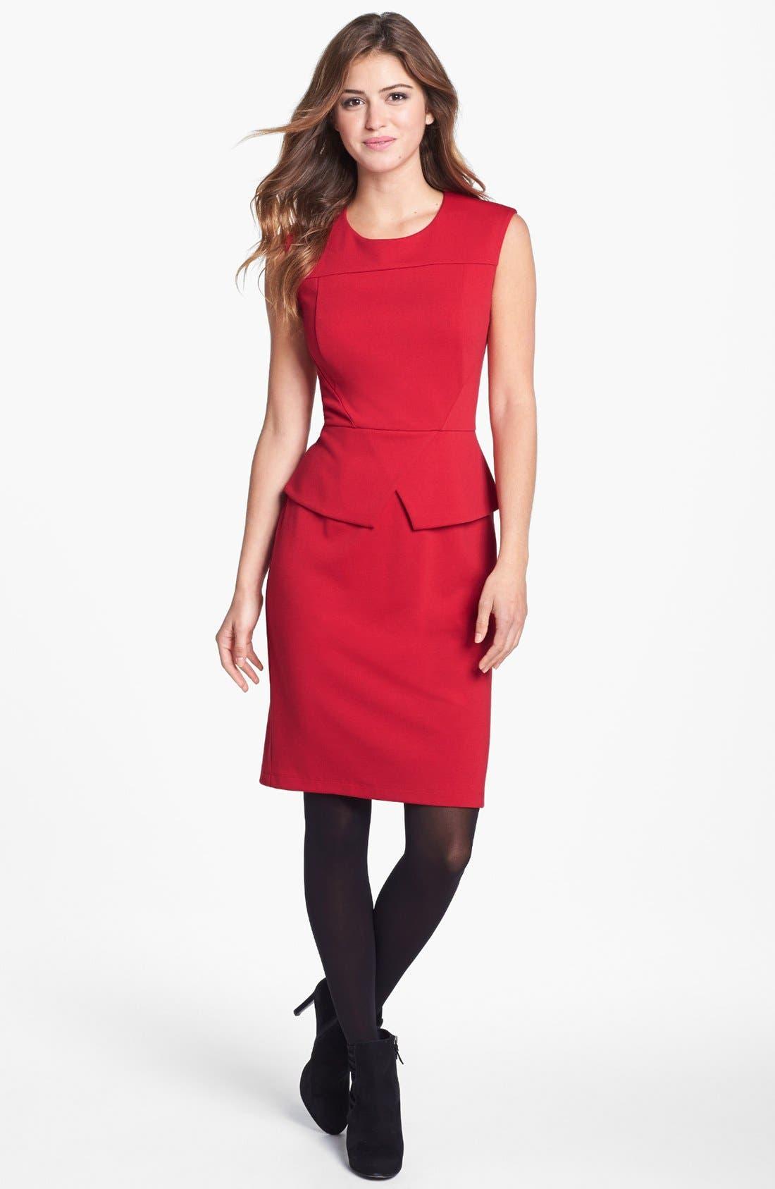 Alternate Image 1 Selected - Calvin Klein Cap Sleeve Peplum Sheath Dress (Online Only)