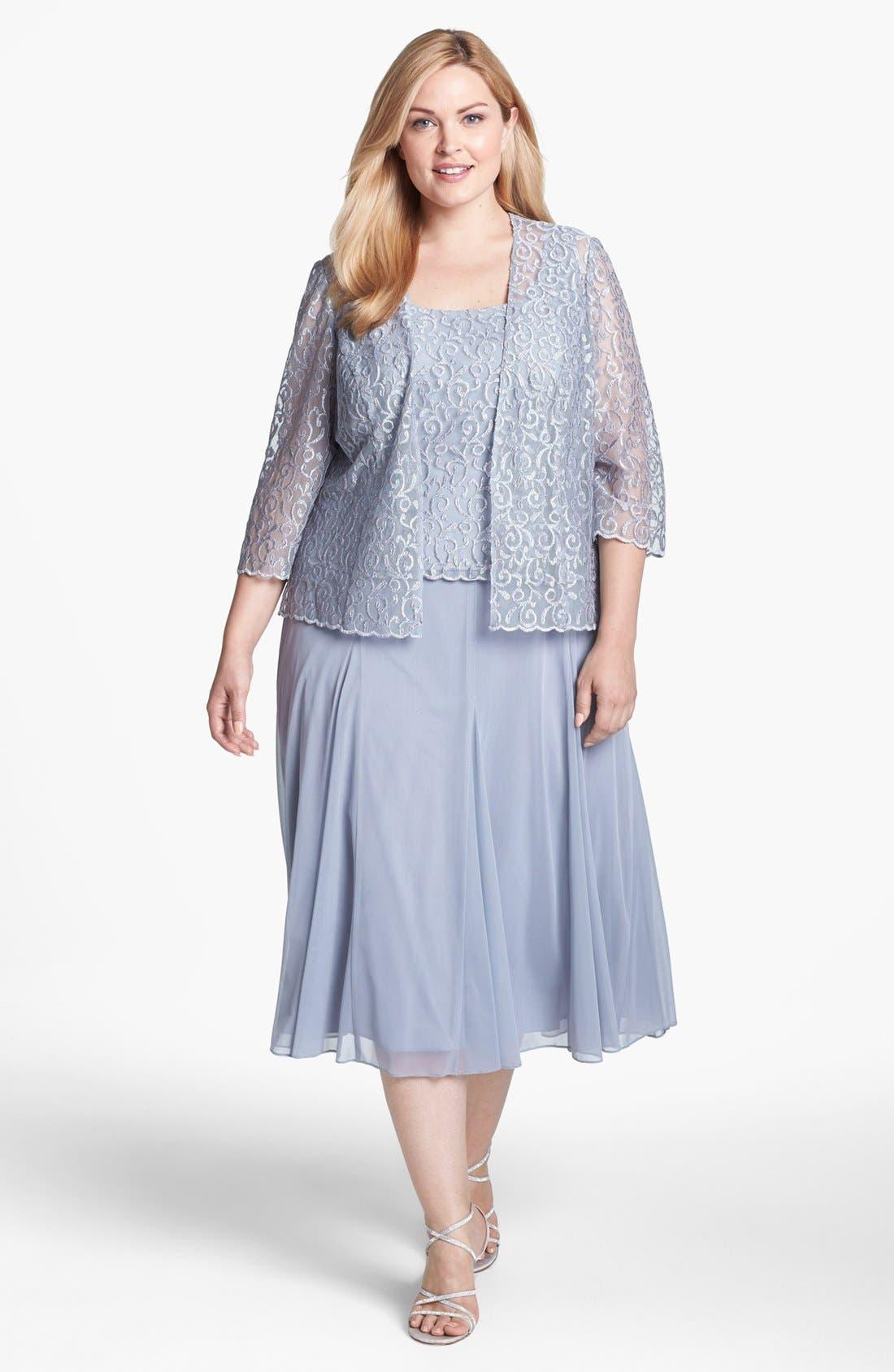 Main Image - Alex Evenings Mixed Media Dress & Jacket (Plus Size)