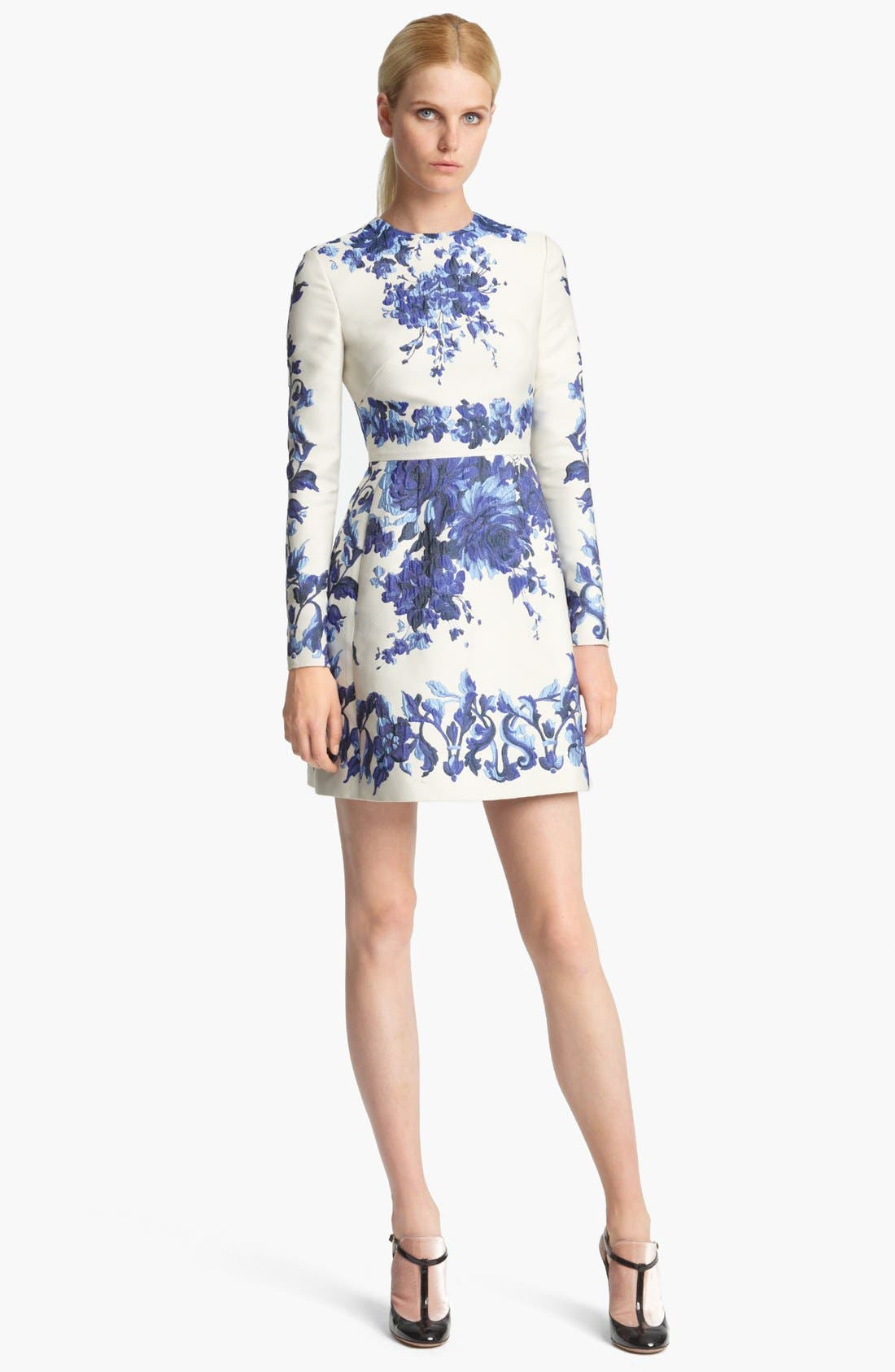 Alternate Image 1 Selected - Valentino Long Sleeve Flared Skirt Dress