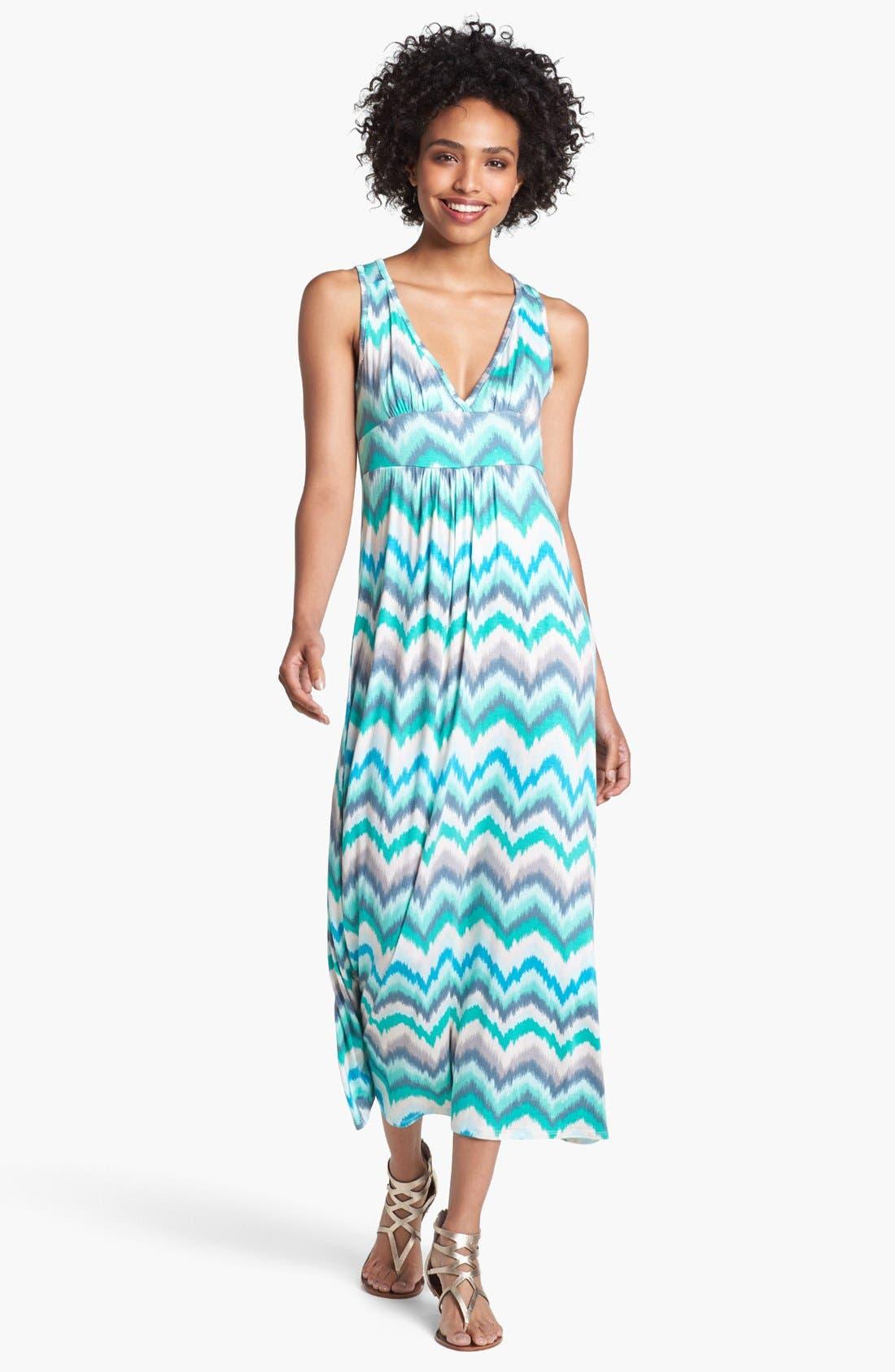 Main Image - Loveappella Zigzag Stripe Maxi Dress (Petite)