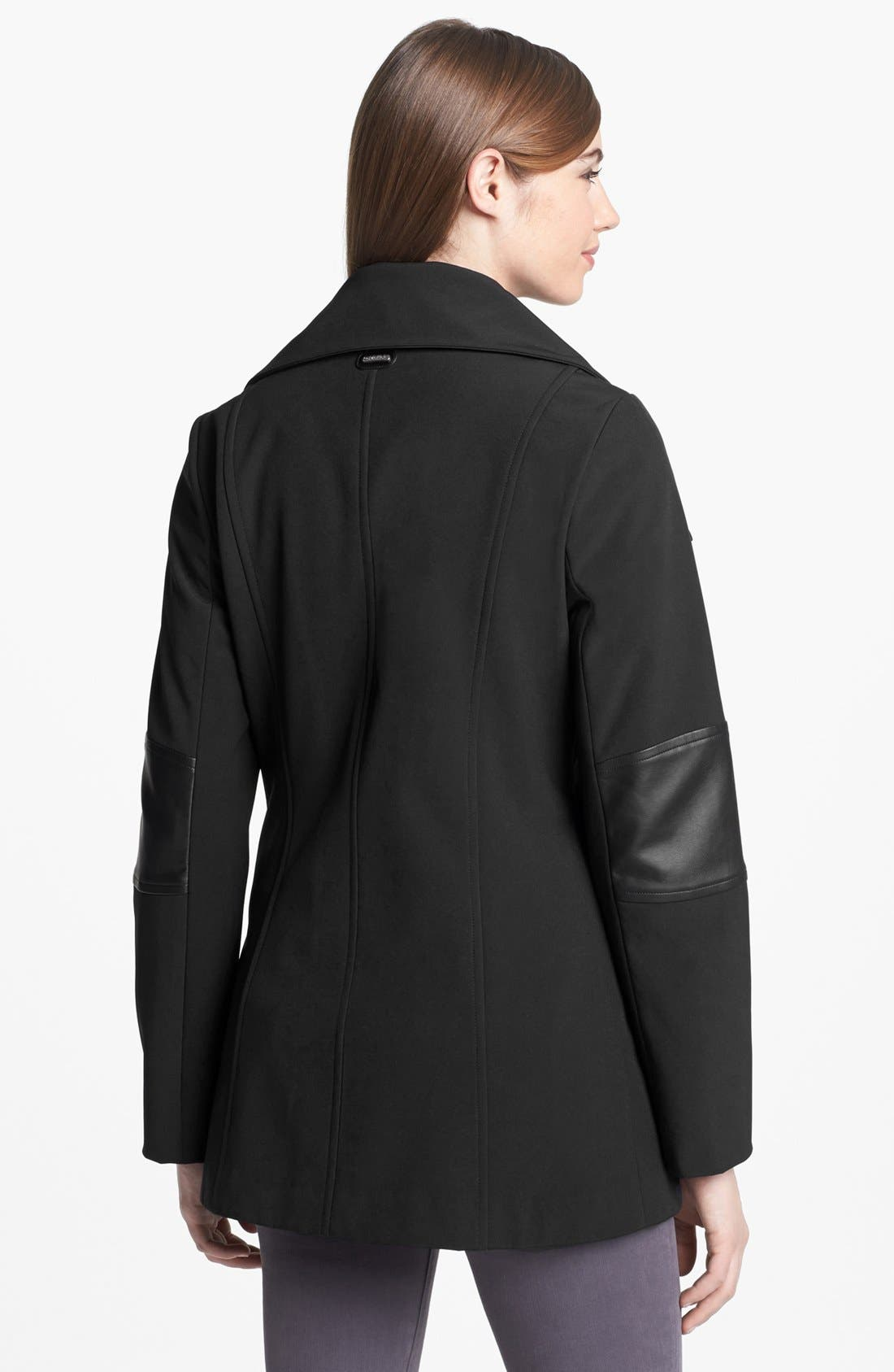 Alternate Image 2  - Calvin Klein Asymmetrical Zip Faux Leather Trim Soft Shell Coat