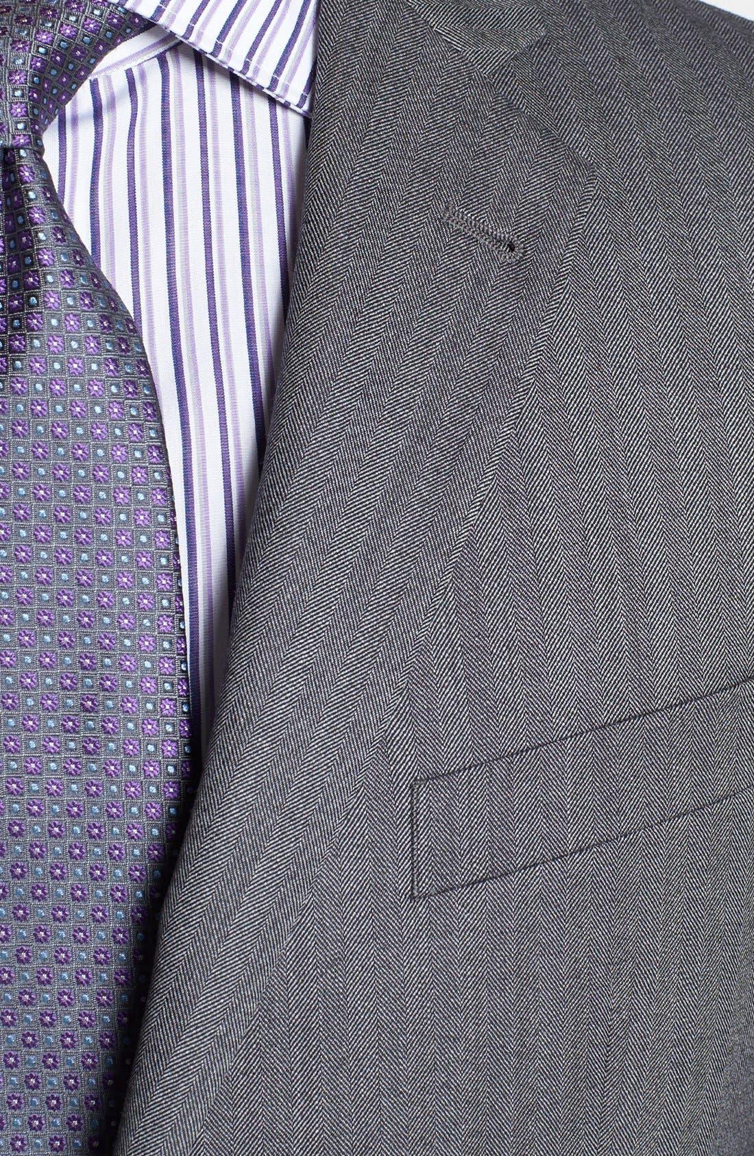 'Profile/Hybrid' Trim Fit Herringbone Sportcoat,                             Alternate thumbnail 2, color,                             Grey Tonal Herringbone