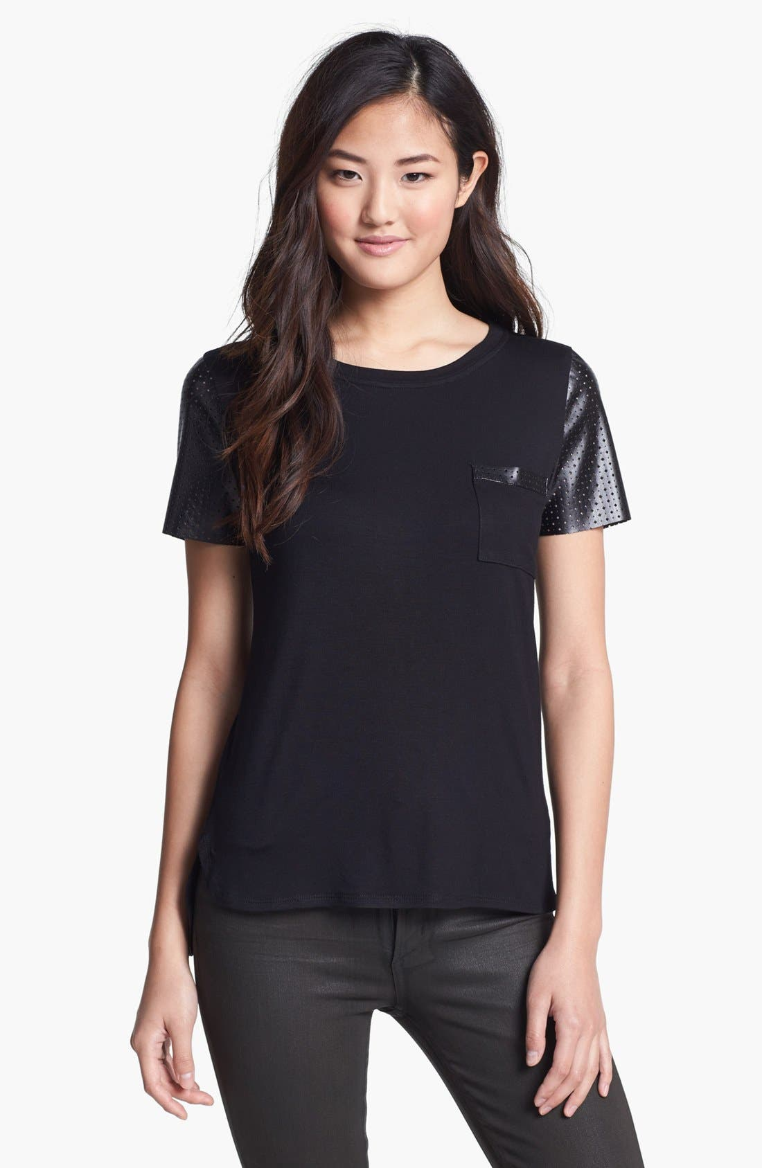Main Image - Everleigh Faux Leather Sleeve Tee (Petite)