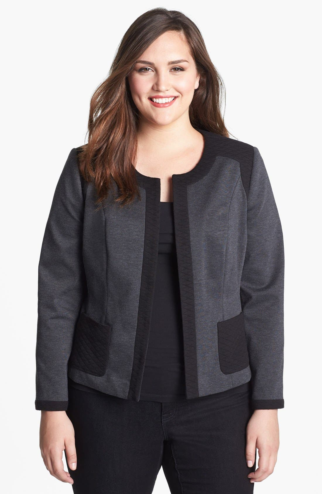 Main Image - Sejour Mixed Media Jacket (Plus Size)