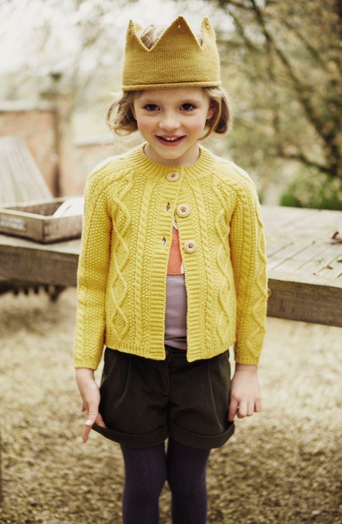 Alternate Image 2  - Mini Boden Cabled Cardigan (Toddler Girls, Little Girls & Big Girls)