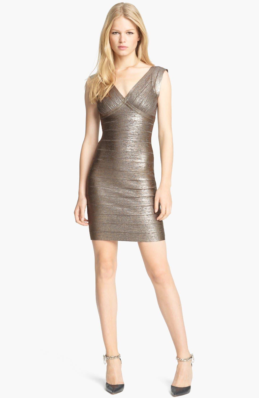 Main Image - Herve Leger Foiled Bandage Dress