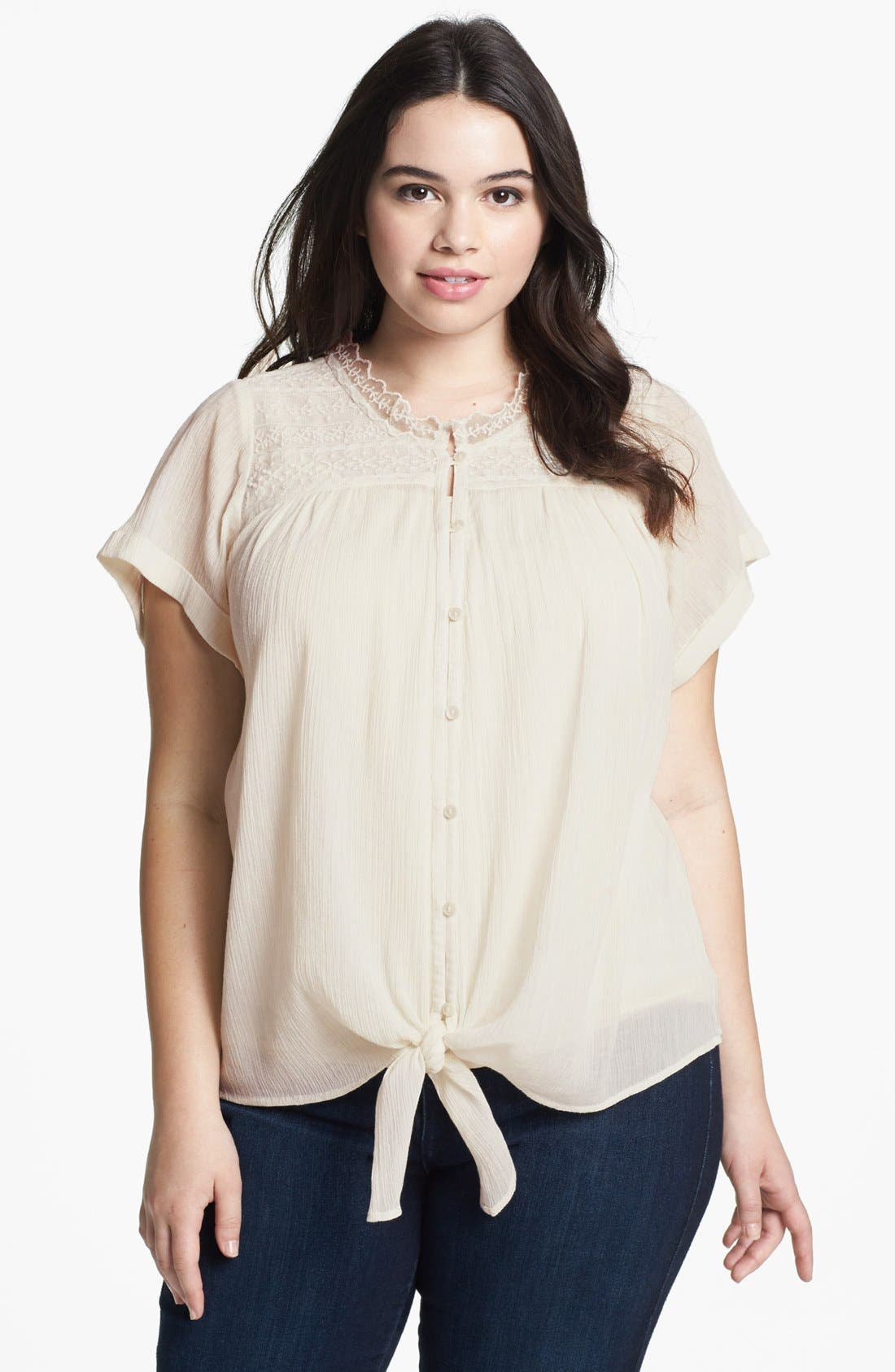 Alternate Image 1 Selected - Lucky Brand 'Blakely' Tie Front Top (Plus)