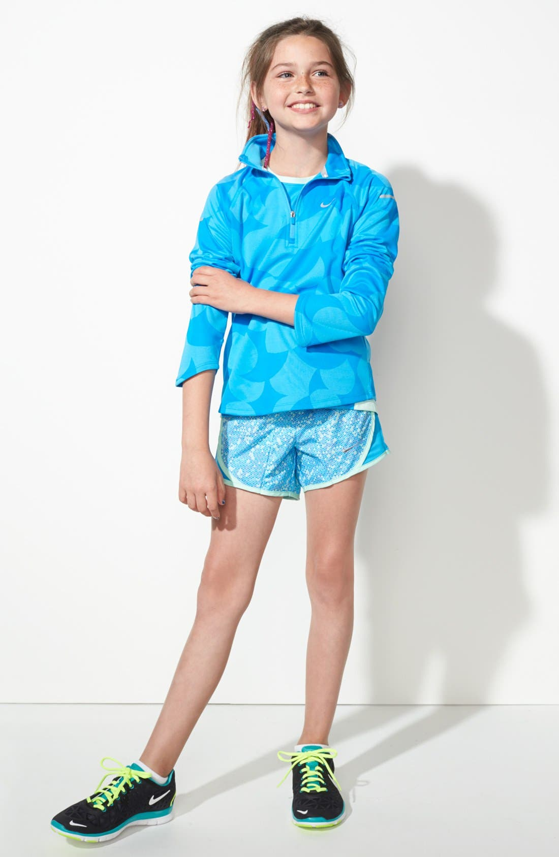 Alternate Image 1 Selected - Nike Top, Jacket & Shorts (Big Girls)