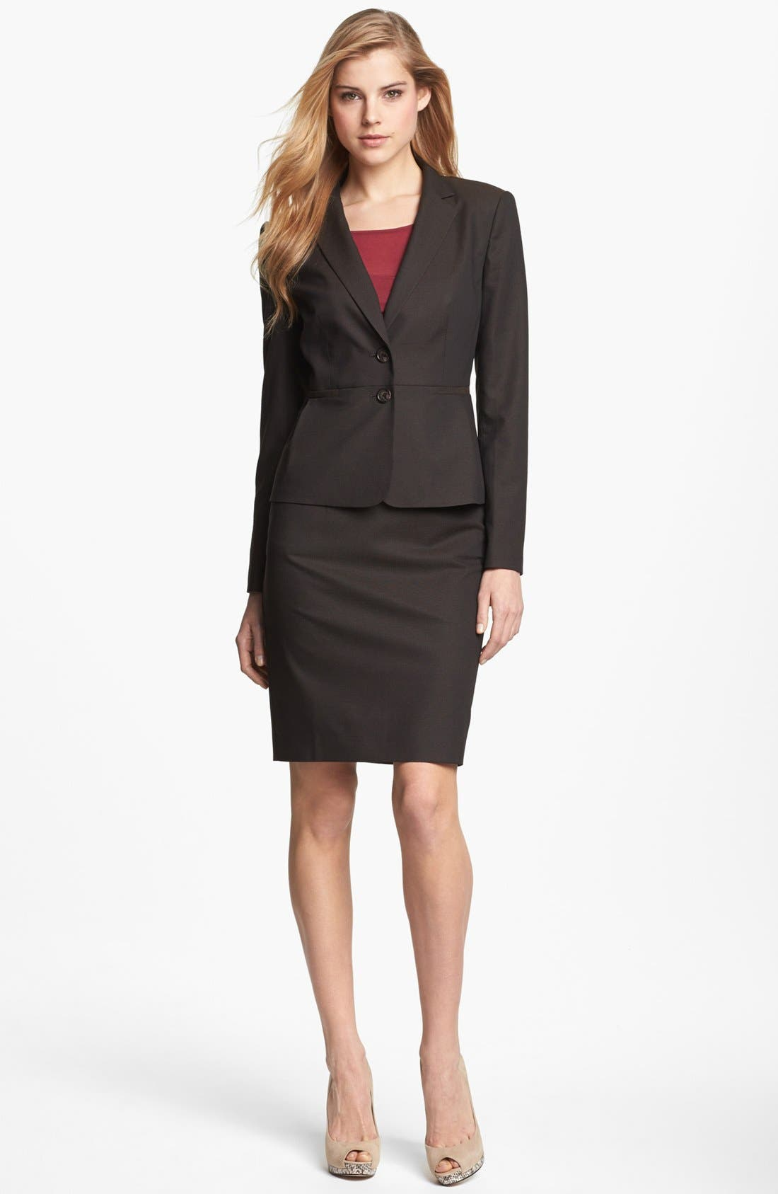 Pencil Skirt,                             Alternate thumbnail 4, color,                             Black/ Brown Combo