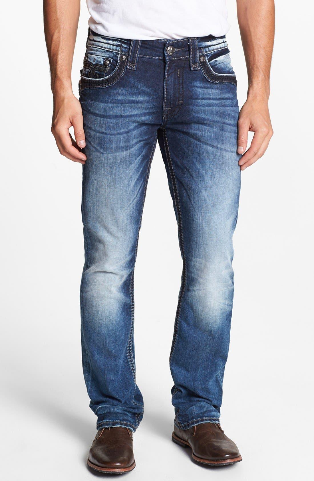 Alternate Image 2  - Rock Revival 'Tim Alternative' Straight Leg Jeans (Medium Blue)
