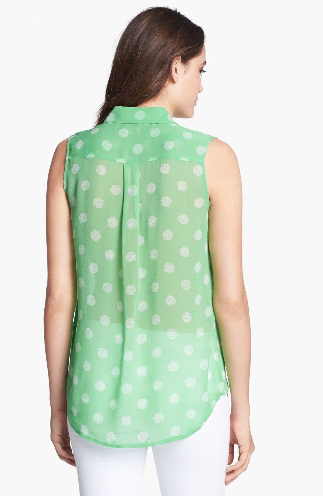 'Slim Signature' Silk Top,                             Alternate thumbnail 2, color,                             Irish Green