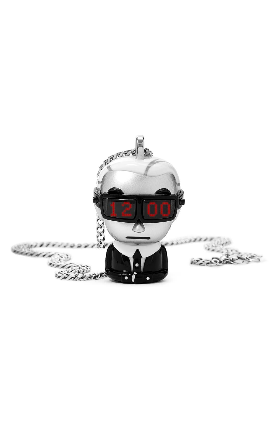 'tokidoki' Digital Necklace Watch, 37mm x 51mm,                             Alternate thumbnail 6, color,                             Silver/ Black/ White