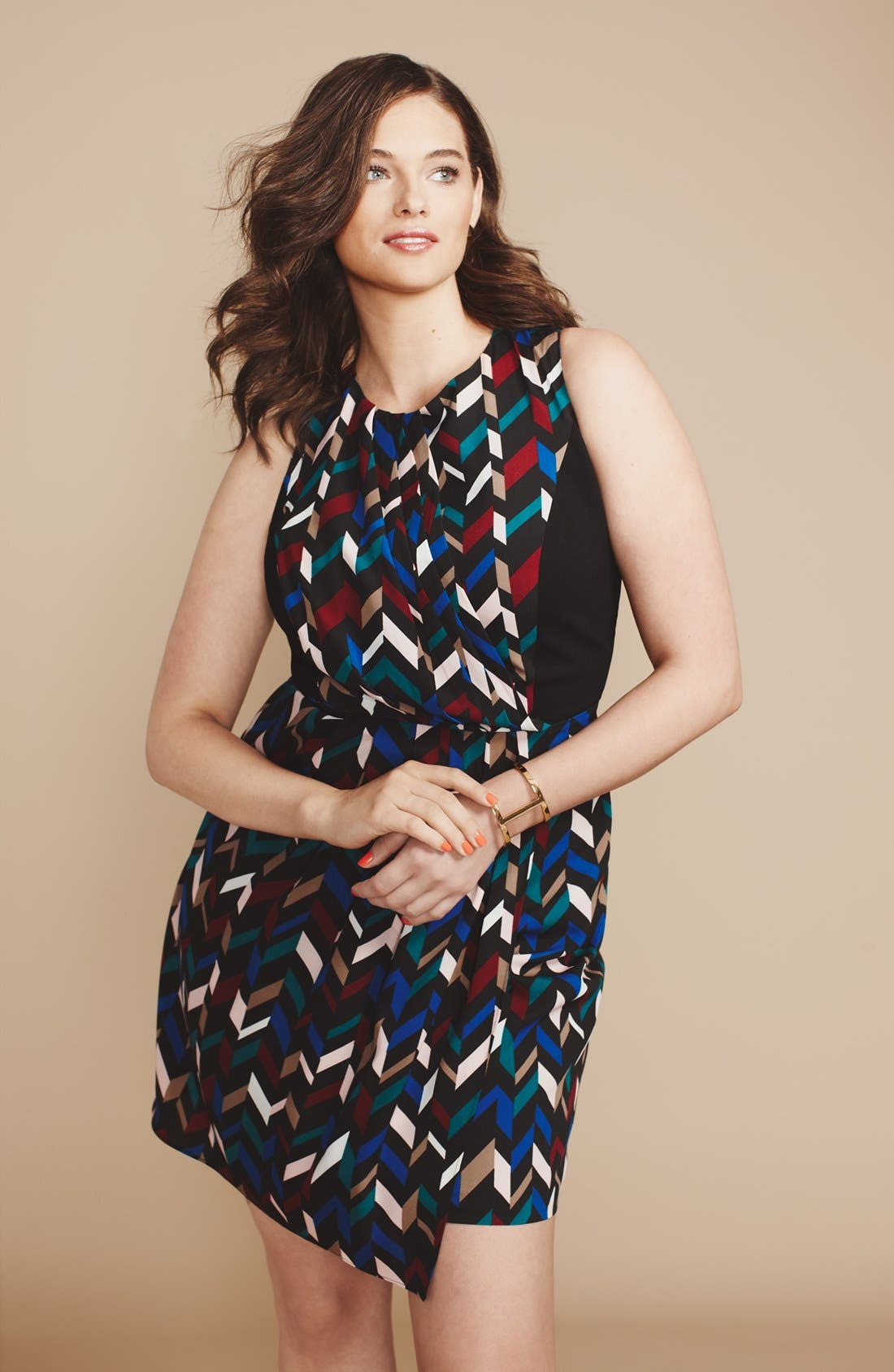 Alternate Image 4  - DKNYC Geo Print Crepe Sheath Dress (Plus Size)