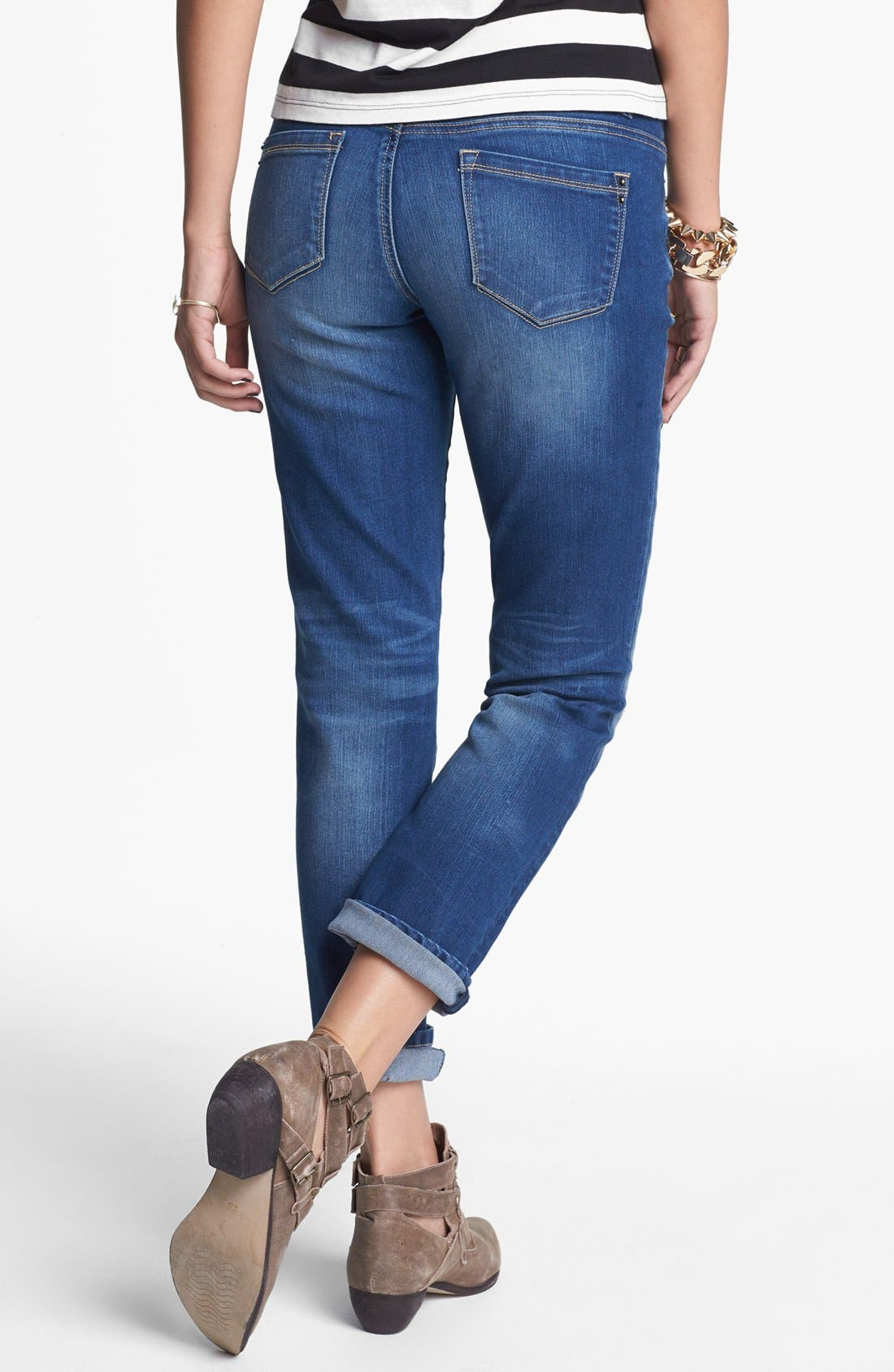 Alternate Image 2  - Jolt Destroyed Crop Skinny Jeans (Medium) (Juniors)