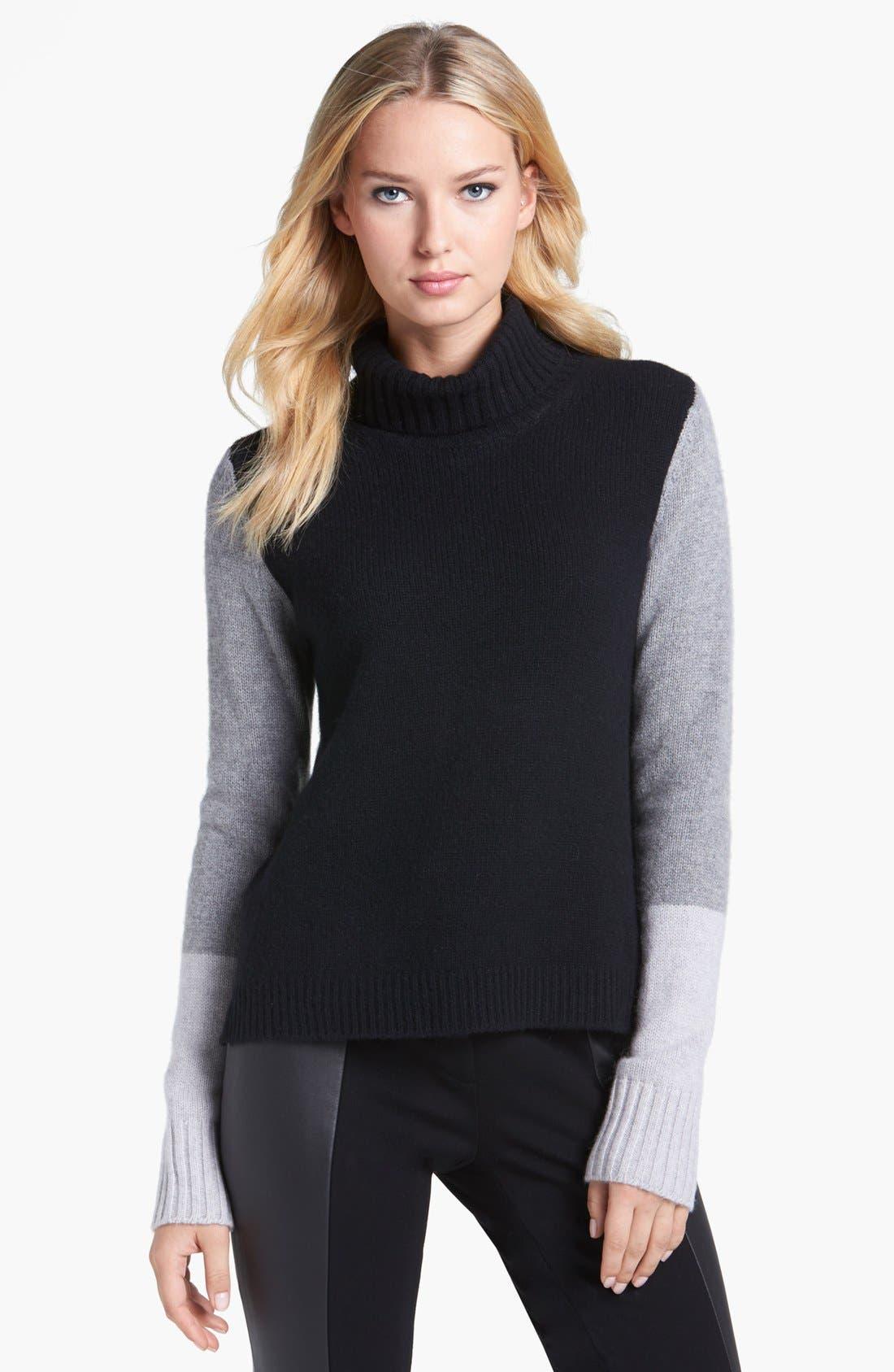 Alternate Image 1 Selected - Pure Amici Colorblock Cashmere Turtleneck Sweater
