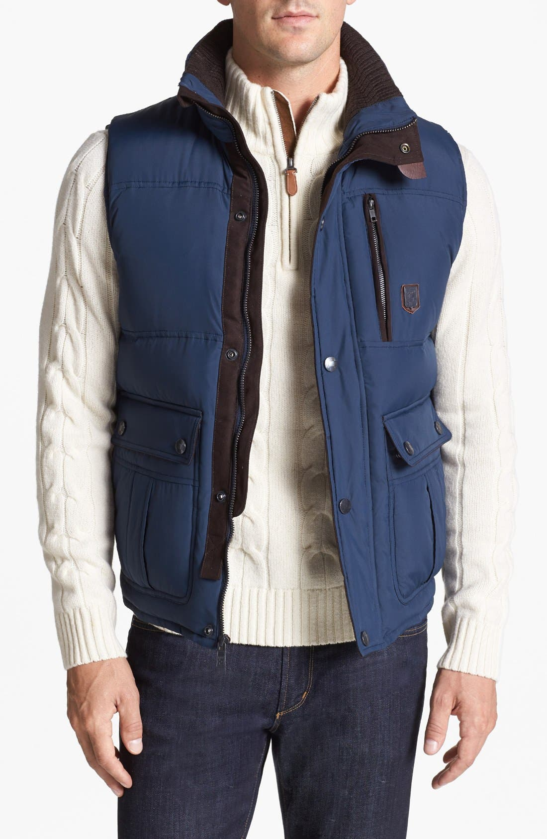 Relaxed Fit Vest,                         Main,                         color, Navy