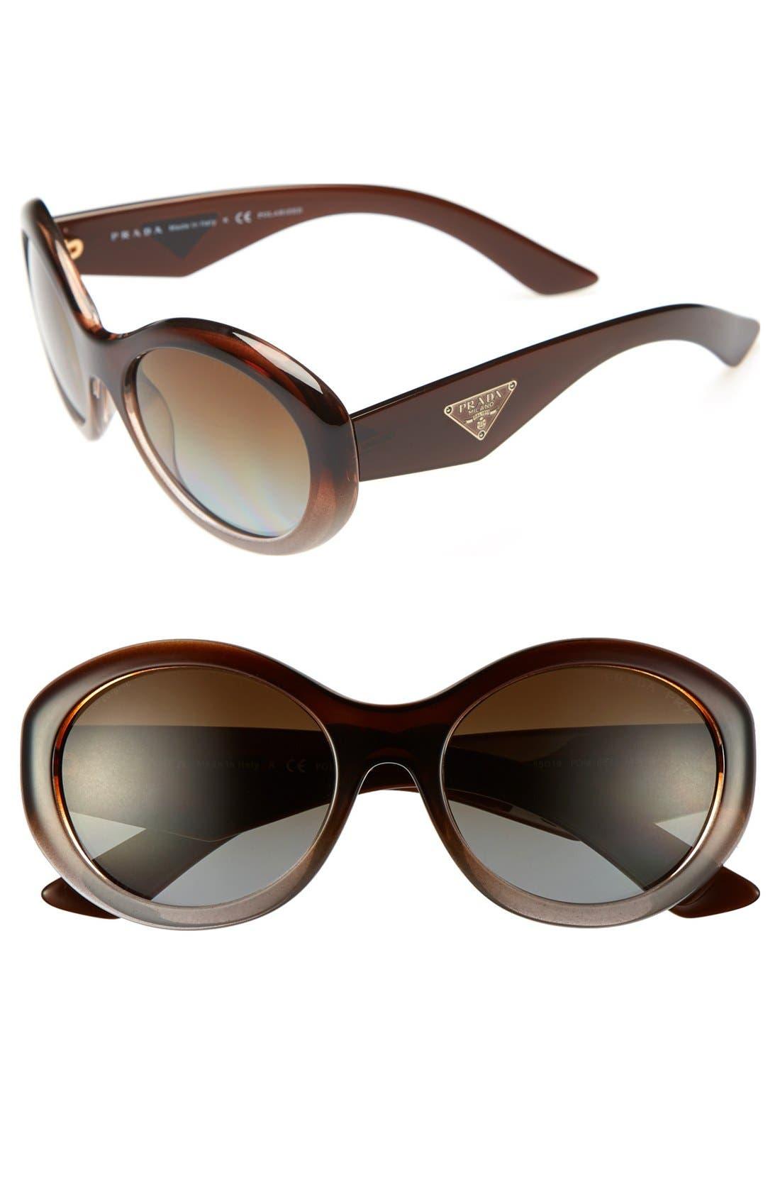Main Image - Prada 'Oval Glam' 55mm Polarized Sunglasses