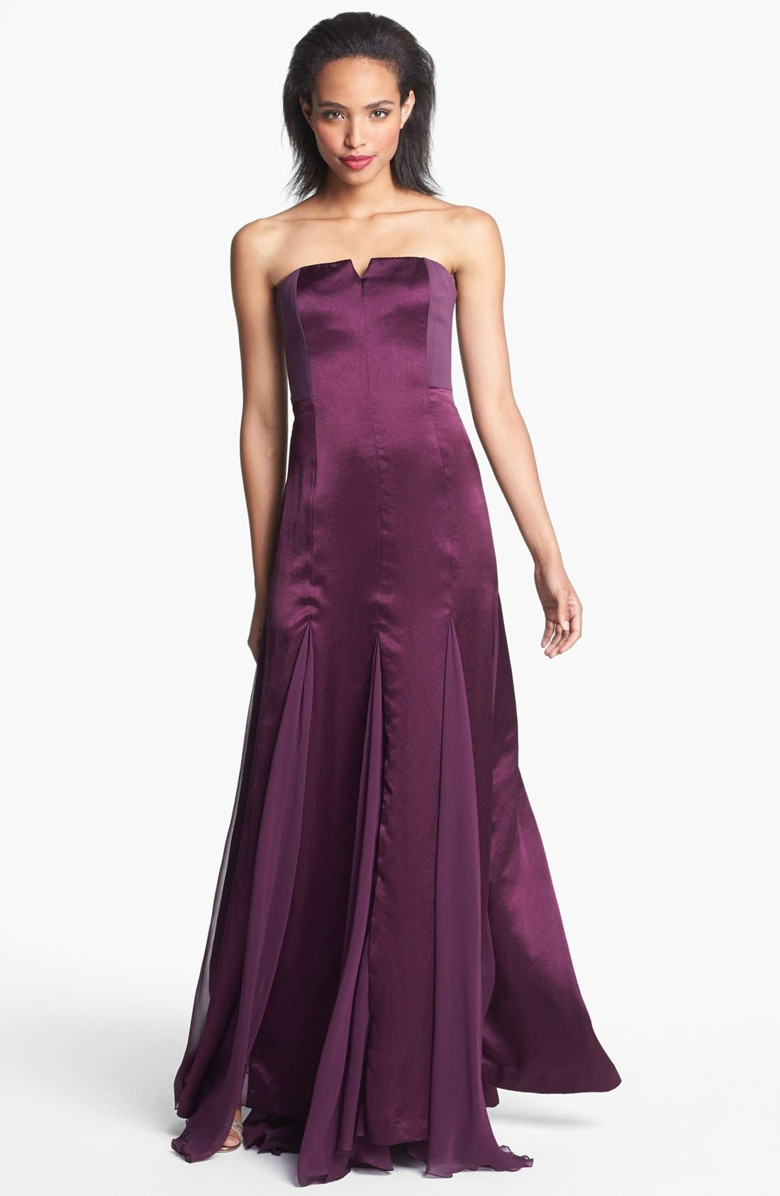 Alternate Image 1 Selected - Halston Heritage Satin & Chiffon Gown