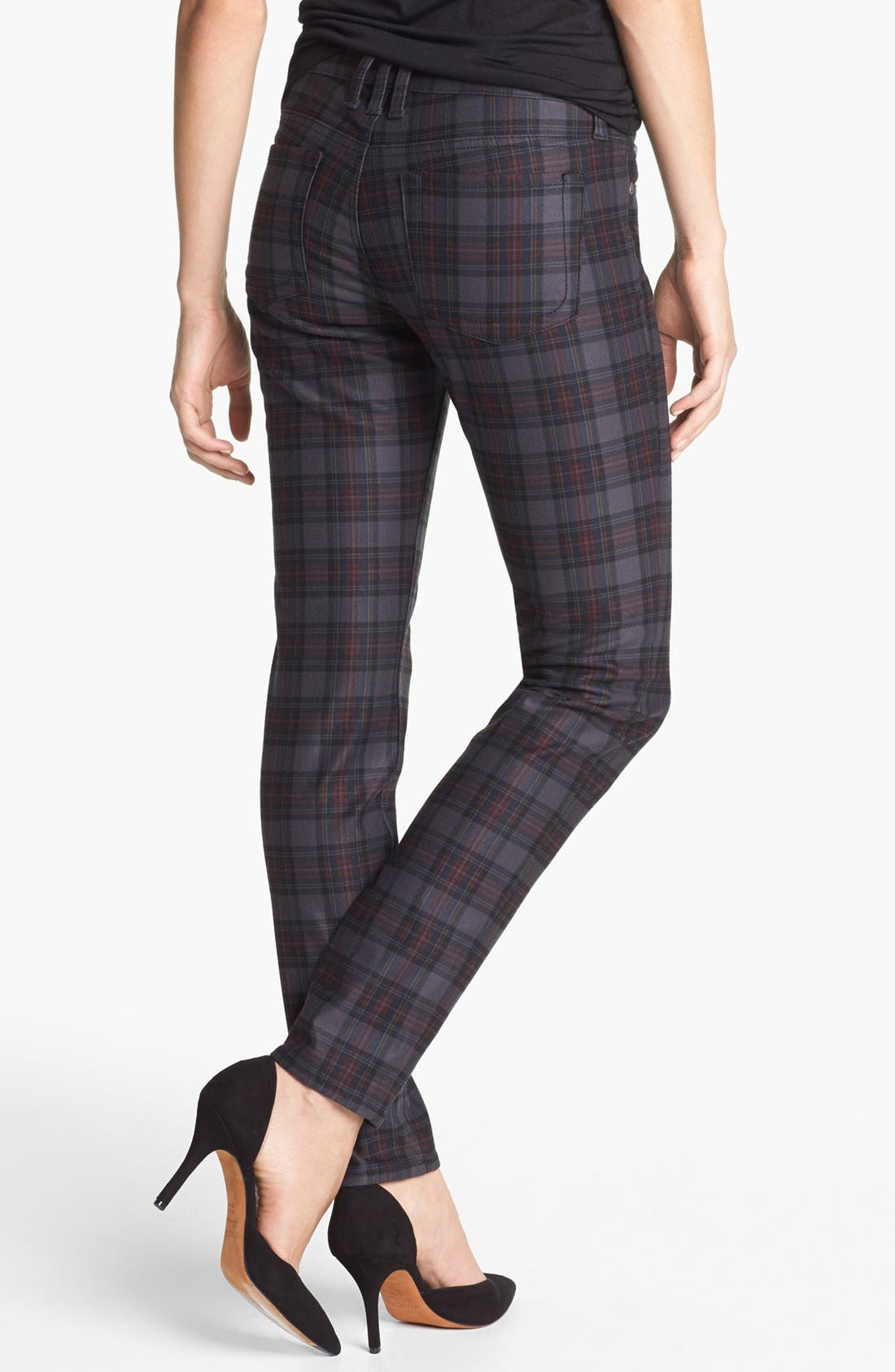 Alternate Image 2  - KUT from the Kloth 'Mia' Plaid Toothpick Skinny Jeans (Grey)