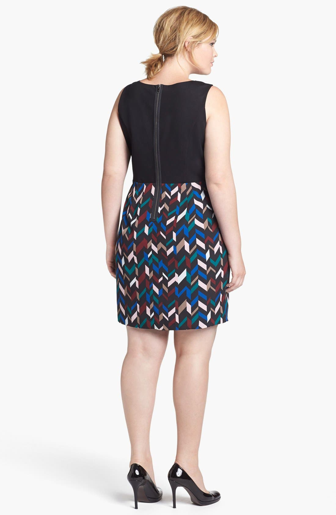 Alternate Image 2  - DKNYC Geo Print Crepe Sheath Dress (Plus Size)