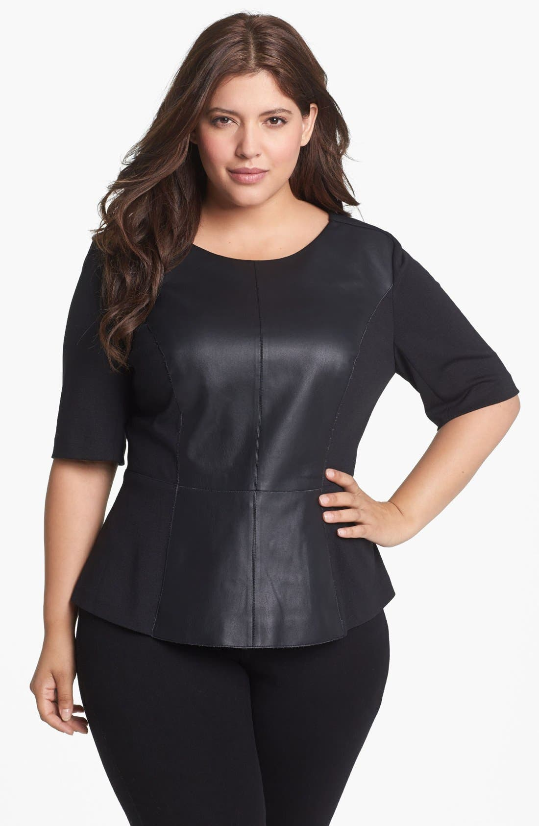Main Image - Sejour Faux Leather Front Peplum Top (Plus Size)