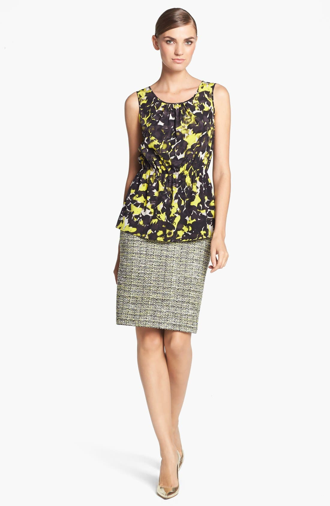 Alternate Image 2  - St. John Collection 'Layered Leaves' Print Crepe Blouse