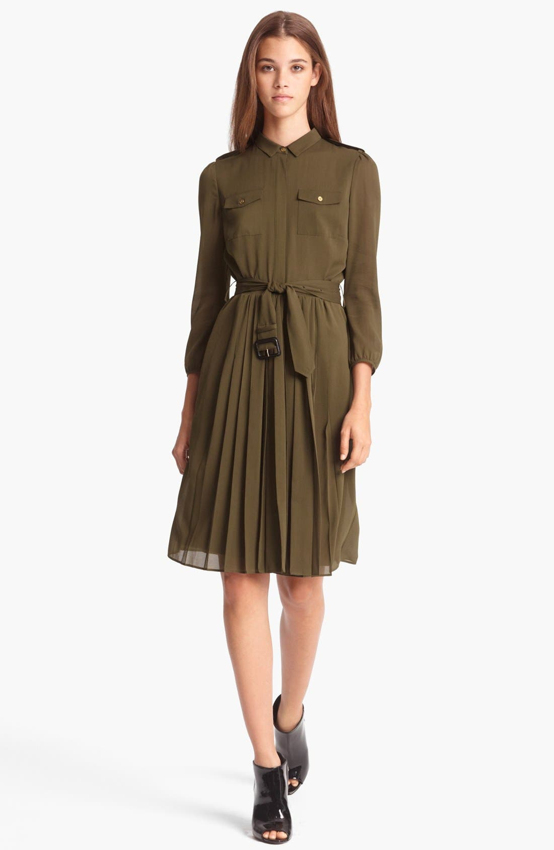 Main Image - Burberry London Belted Stretch Silk Dress