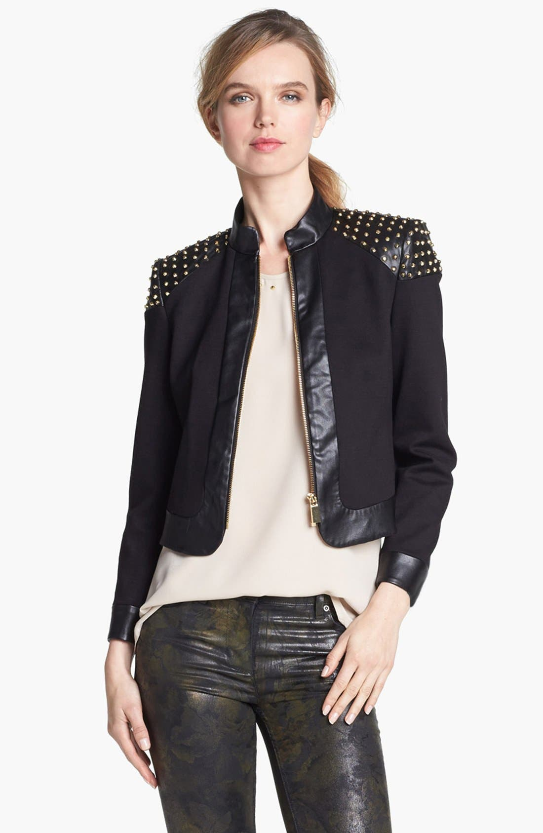 Alternate Image 2  - Vince Camuto Studded Faux Leather Trim Jacket