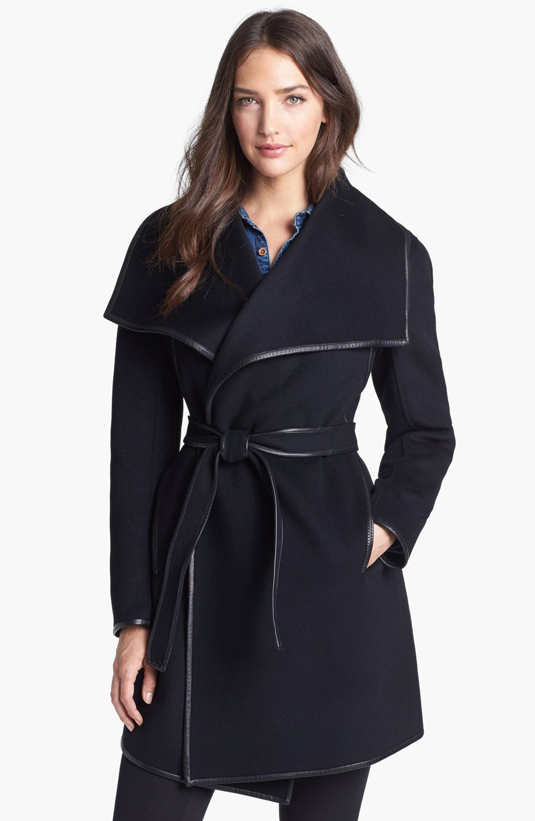 Main Image - Dawn Levy 'Harper' Leather Trim Wool Wrap Coat