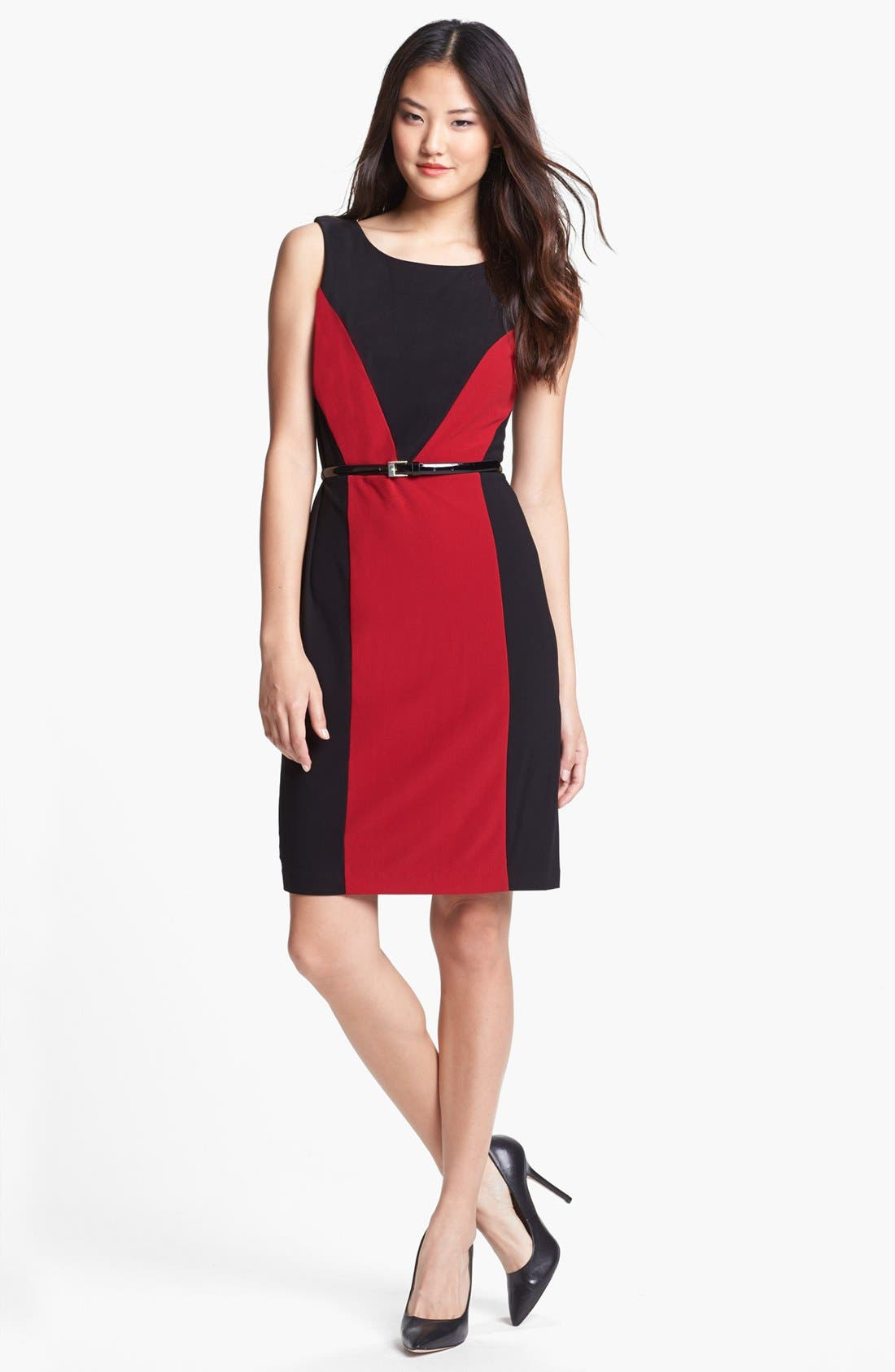Alternate Image 1 Selected - Ellen Tracy Colorblock Crepe Sheath Dress