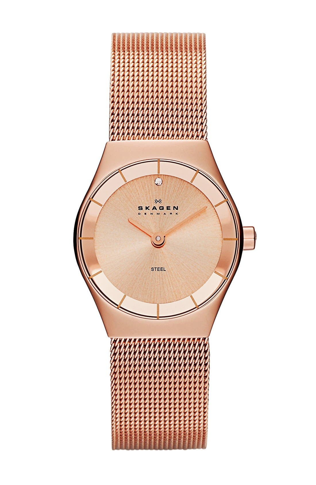 Alternate Image 1 Selected - Skagen Small Round Mesh Strap Watch, 24mm