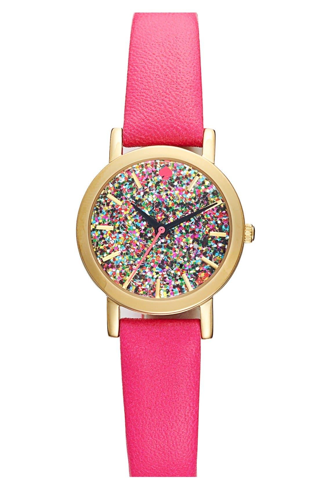 Main Image - kate spade new york 'metro mini' glitter dial watch, 24mm