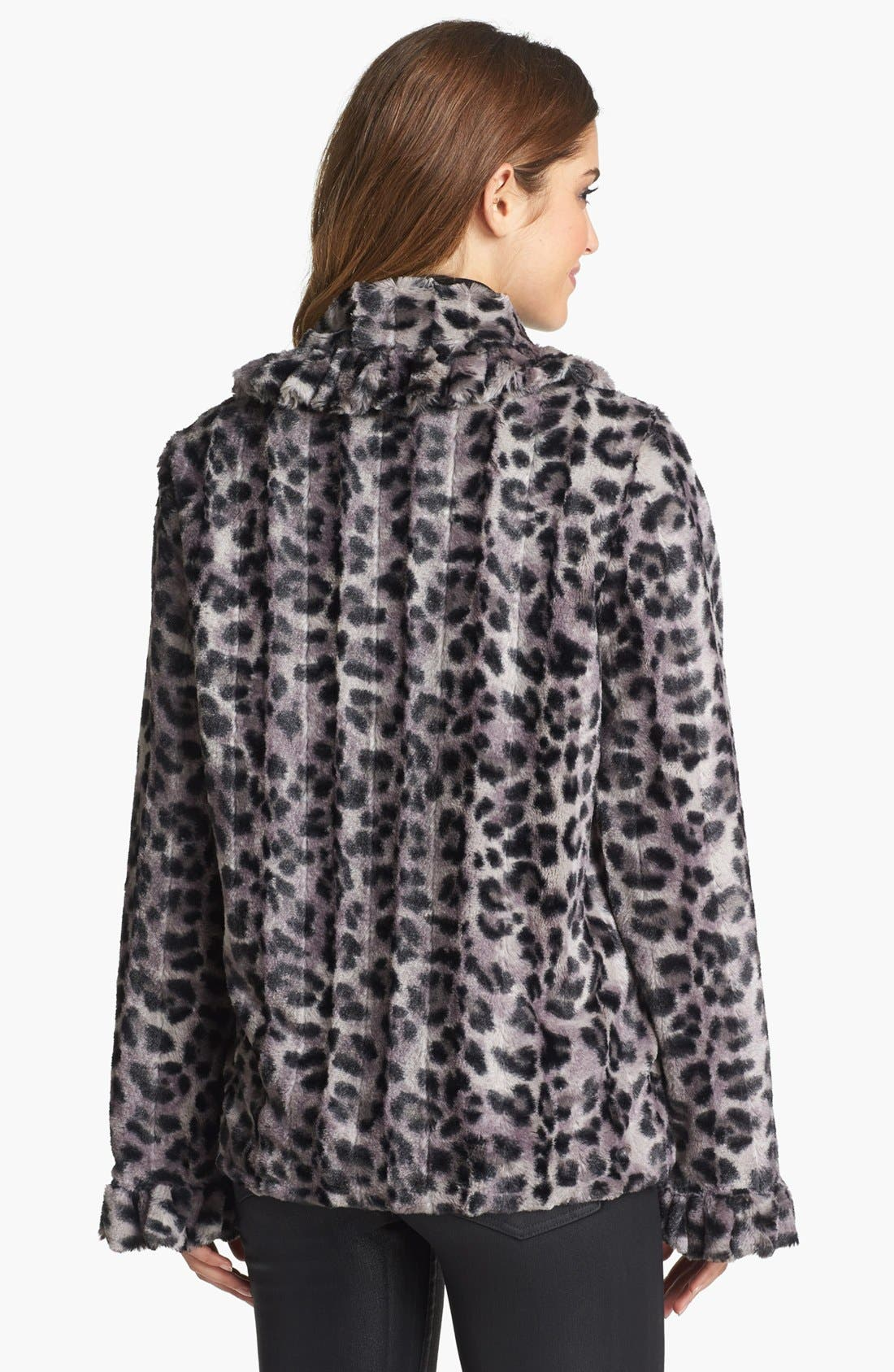 Alternate Image 2  - Damselle Ruffle Trim Faux Fur Jacket (Online Only)