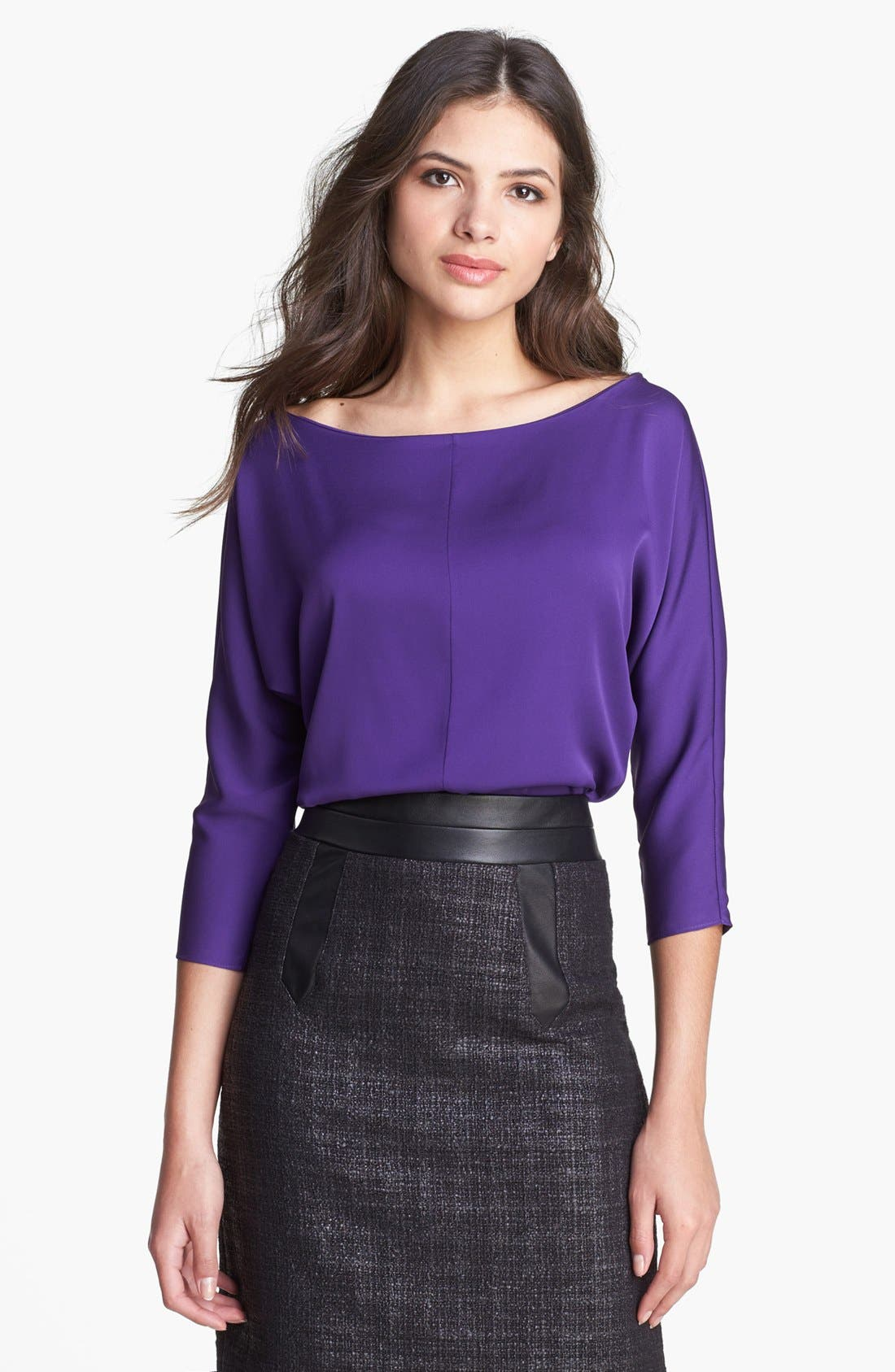 Alternate Image 1 Selected - Milly Dolman Sleeve Stretch Silk Top